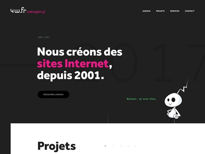 4w.fr — Exploration homepage big type bold webdesign agency magenta black dark website