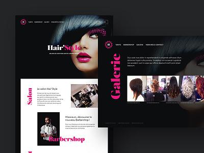 Hair'Style Website branding barbershop hair black pink dark webdesign website