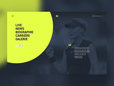 Menu — Kristina Mladenovic french player webdesign website yellow circle menu athlete sport tennis