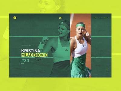 Home — Kristina Mladenovic photography homepage yellow website webdesign tennis sport player french athlete