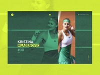 Home — Kristina Mladenovic photography homepage yellow website webdesign tennis sport player french athlete