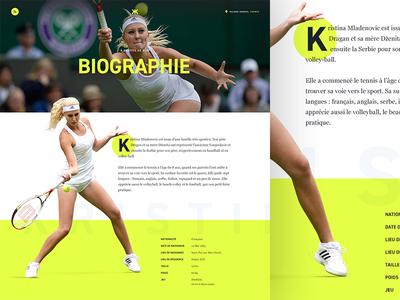 Biography — Kristina Mladenovic wimbledon biography bio yellow website webdesign tennis sport player french athlete