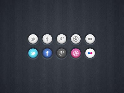 Social Icons freebie psd icons social twitter facebook dribbble flickr googleplus dark buttons ui