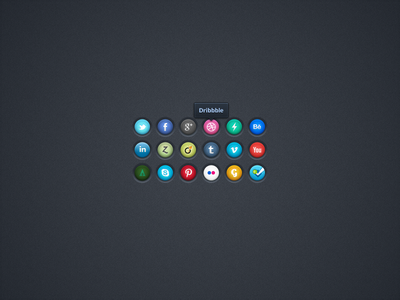 Social Icons V2 social icons freebie buttons tooltip ui pinterest foursquare viadeo zerply behance