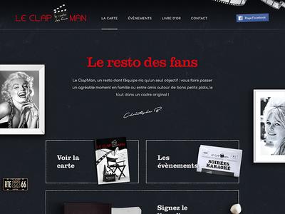 Le Clap'man flat lay dinner red cinema dark restaurant webdesign website