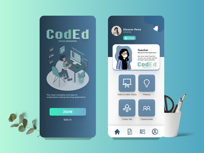 CodEd/Coding Education ux mobile ui design mobile iphone x illustration branding ui iphone education