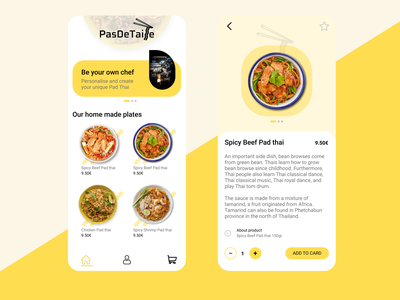Just an uber-eat app for a pad thai restaurant! art ui ux branding web figma design app design app