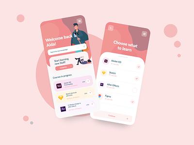 Learning App Design ux design uxdesign uidesign mobile design uiux ui  ux ui design mobile app design ui mobile app minimal popular design illustration