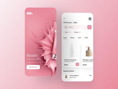 Beauty App - UI Design cosmetic app ios app new app new design inspiration new post makeup app cosmetics beauty app beauty uiux design uiux mobile app design app ui illustration popular design minimal