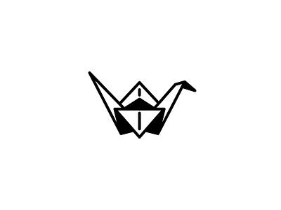 Paper Crane logo minimal crane illustration art origami
