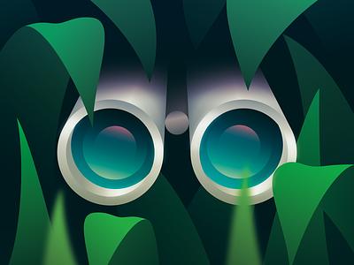 Scout spy binoculars vector illustration