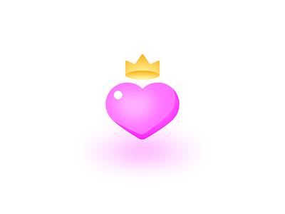 Heart cute queen vector minimal crown icon heart love