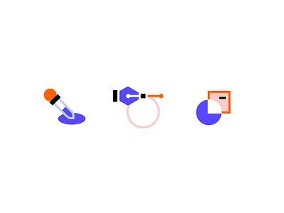 Digital Design flat design digital boolean pen tool eyedropper icon illustration vector minimal