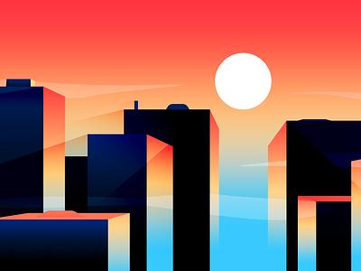 City Sunset illustration vector minimal cityscape city sunrise sunset