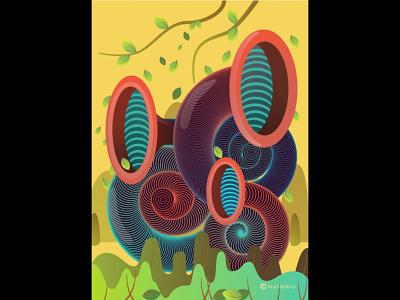 Series : Surreal vibrations of nature branding design icon website vector ux procreate procreate app adobe-illustrator illustration