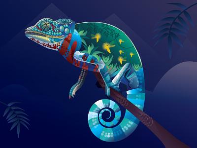 chameleon adobe photoshop branding website design procreate app ux vector adobe-illustrator procreate illustration