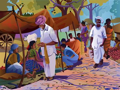 Series : Indian village market adobe photoshop design vector procreate app ux adobe-illustrator procreate illustration