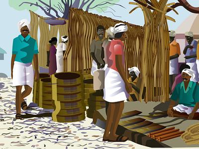 Series: Indian village markets ux vector design procreate procreate app adobe-illustrator illustration