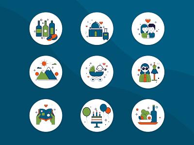 Lifestyle icon set - exploration mobile categoryicons mobileicons ui identity app procreate web design vector ux adobe-illustrator illustration
