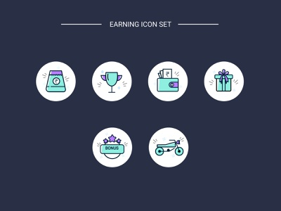 Earnings icon set exploration ux ui design vector adobe-illustrator illustration
