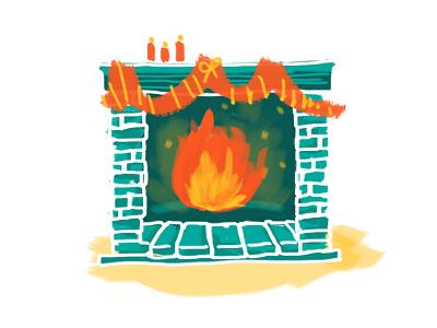 Warm little fireplace fireplace watercolour brush christmas