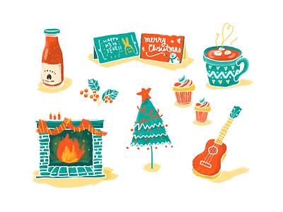 Merry Christmas! christmas card hot chocolate tree fireplace watercolour brush christmas