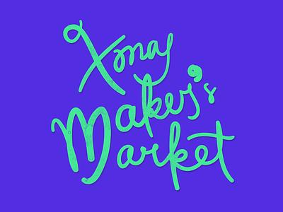 Xmas Maker's Market logo handlettering christmas lettering
