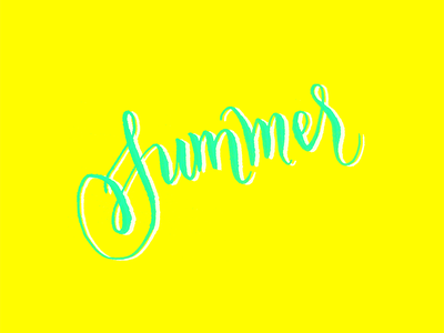Summer is here! yellow mint brush handletting lettering bright summer
