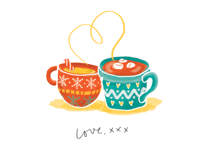 Hot Chocolate Time x warm brush watercolour illustration hot chocolate christmas