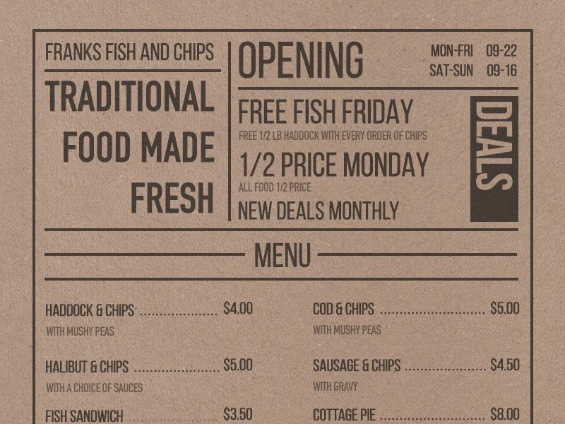 Daily UI 043 - Food/Drink Menu foodmenu menu dailyui043 dailyui