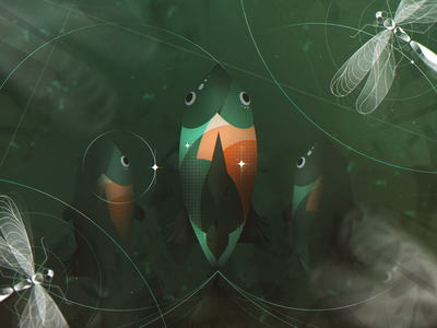 Underwater plants gradients fish forest animal nature photoshop design illustration character