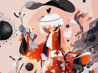 Medic Samurai vs Covid-19 nature forest photoshop illustration character doctor cure birds pandemic virus covid19 covid samurai health medic
