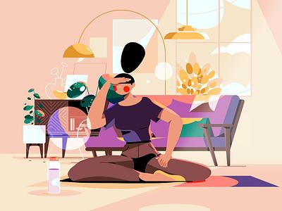 Morning Routine sofa interior illustration character livingroom morning yoga