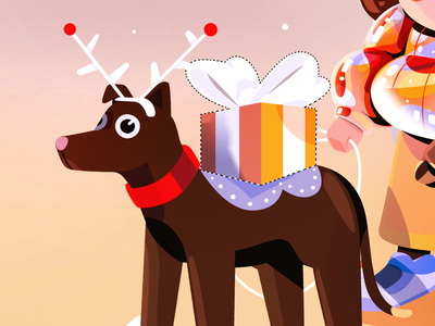 Merry Christmas & Happy 2021 new year presents dog chritsmas nature illustration character