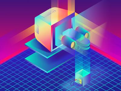 Retro-Electro TV ship space gradients dimensions gaming electro retro tv