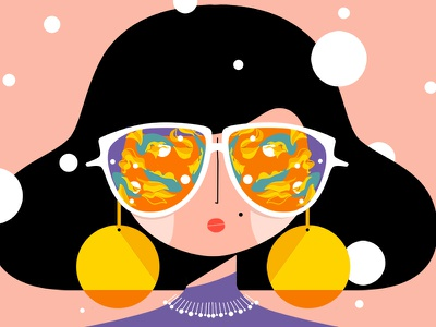 Disco style 🎤🎶💃 procreate ipad fishes glasses style disco female character
