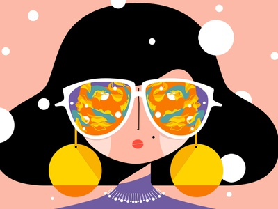 Disco style 🎤🎶💃 procreate ipad fishes glasses style disco female character