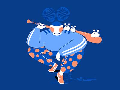 Baseball Game adidas japan cute sports baseball illustration design dots character