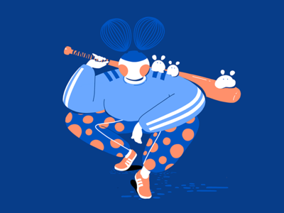 Baseball Game adidas japan cute sports baseball illustration design dots character