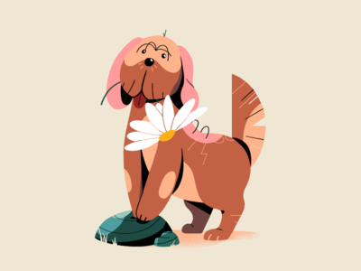 Doggy Loves Daisies animal flower pets pet illustration pose daisies dog