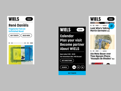 Wiels —  Contemporary Art Center — Mobile art museum typography design filter events menu homepage mobile ux ui web website web design