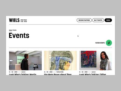 Wiels —  Contemporary Art Center — Events motion minimal brutalism filter fold skew scroll art events ux ui web website web design