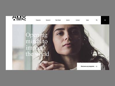 AMS — Programs grid design menu school management corporate business programs transition hero motion ux ui website web web design