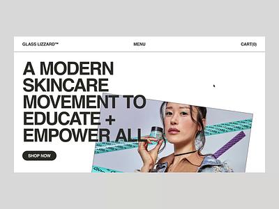 GLASS LIZZARD™ — Homepage webshop ecommerce menu homepage skincare interaction motion animation ux ui web we website web design