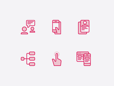 UX Icons ux mobile phone tap prototype user flow persona interview icons