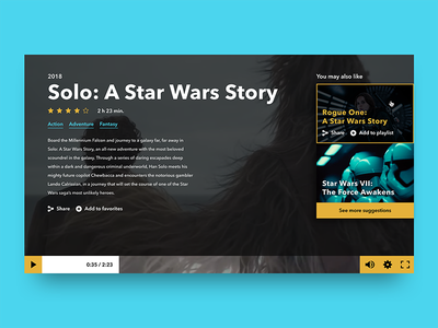 Video Player han solo star wars movie web ux ui video player