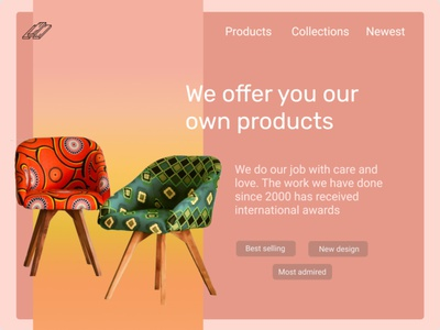 Furniture website interface web ui minimal illustration design