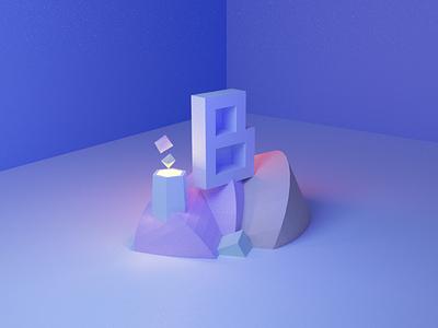 36 Days Of Type - B light 36days blue 3d typography type minimal design 36daysoftype