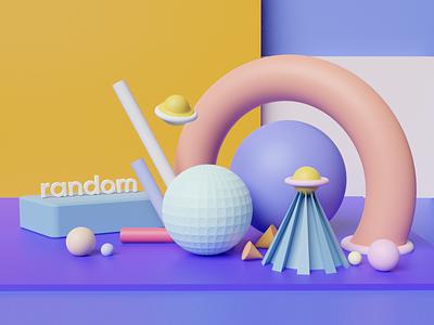 3D Blender typo typography clean design illustration color colours soft abstract render blender 3d minimal