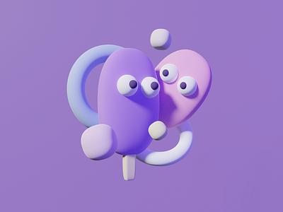 cream ( blender 3D ) friends happy face blue design app life 2020 design icecream cream character ui illustration minimal color vector design blender 3d art